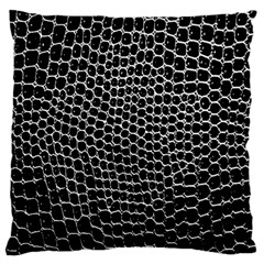 Black White Crocodile Background Large Flano Cushion Case (one Side)