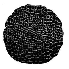 Black White Crocodile Background Large 18  Premium Flano Round Cushions
