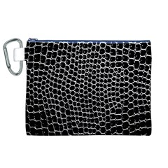 Black White Crocodile Background Canvas Cosmetic Bag (xl)