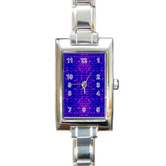 Blue And Pink Pixel Pattern Rectangle Italian Charm Watch