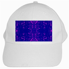 Blue And Pink Pixel Pattern White Cap