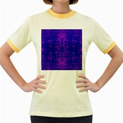 Blue And Pink Pixel Pattern Women s Fitted Ringer T Shirts