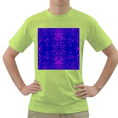 Blue And Pink Pixel Pattern Green T Shirt