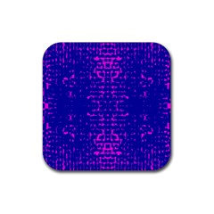 Blue And Pink Pixel Pattern Rubber Coaster (square)