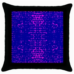 Blue And Pink Pixel Pattern Throw Pillow Case (black)