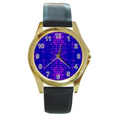 Blue And Pink Pixel Pattern Round Gold Metal Watch