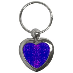 Blue And Pink Pixel Pattern Key Chains (heart)