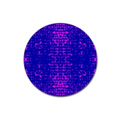 Blue And Pink Pixel Pattern Magnet 3  (round)