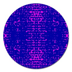 Blue And Pink Pixel Pattern Magnet 5  (round)