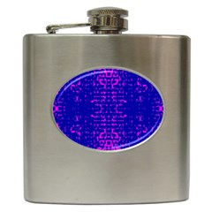 Blue And Pink Pixel Pattern Hip Flask (6 Oz)