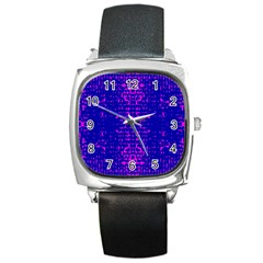 Blue And Pink Pixel Pattern Square Metal Watch
