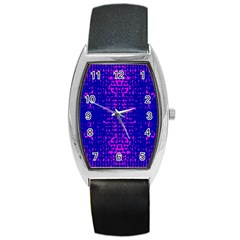 Blue And Pink Pixel Pattern Barrel Style Metal Watch