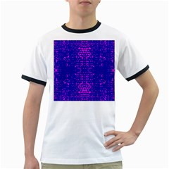 Blue And Pink Pixel Pattern Ringer T Shirts