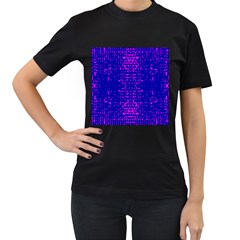 Blue And Pink Pixel Pattern Women s T Shirt (black) (two Sided)