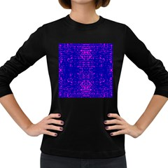Blue And Pink Pixel Pattern Women s Long Sleeve Dark T Shirts