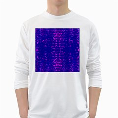 Blue And Pink Pixel Pattern White Long Sleeve T Shirts