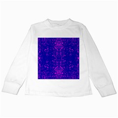 Blue And Pink Pixel Pattern Kids Long Sleeve T Shirts