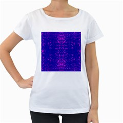 Blue And Pink Pixel Pattern Women s Loose Fit T Shirt (white)