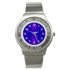 Blue And Pink Pixel Pattern Stainless Steel Watch