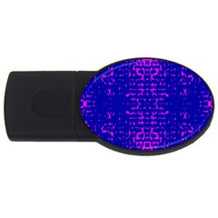 Blue And Pink Pixel Pattern Usb Flash Drive Oval (4 Gb)