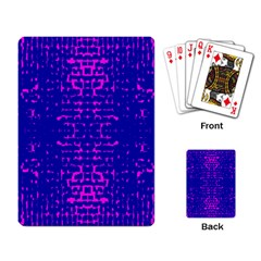 Blue And Pink Pixel Pattern Playing Card