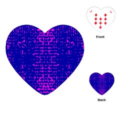 Blue And Pink Pixel Pattern Playing Cards (heart)