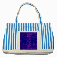 Blue And Pink Pixel Pattern Striped Blue Tote Bag