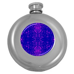 Blue And Pink Pixel Pattern Round Hip Flask (5 Oz)