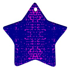 Blue And Pink Pixel Pattern Star Ornament (two Sides)