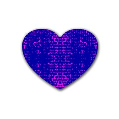 Blue And Pink Pixel Pattern Rubber Coaster (heart)