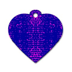 Blue And Pink Pixel Pattern Dog Tag Heart (one Side)