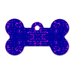 Blue And Pink Pixel Pattern Dog Tag Bone (one Side)