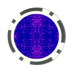 Blue And Pink Pixel Pattern Poker Chip Card Guard
