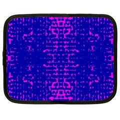 Blue And Pink Pixel Pattern Netbook Case (large)