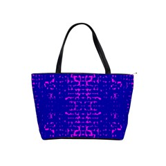 Blue And Pink Pixel Pattern Shoulder Handbags