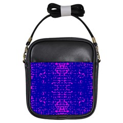 Blue And Pink Pixel Pattern Girls Sling Bags