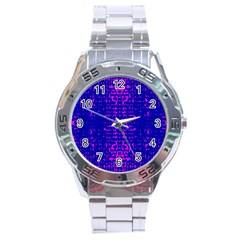 Blue And Pink Pixel Pattern Stainless Steel Analogue Watch