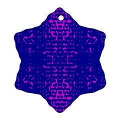 Blue And Pink Pixel Pattern Snowflake Ornament (two Sides)