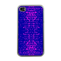 Blue And Pink Pixel Pattern Apple Iphone 4 Case (clear)