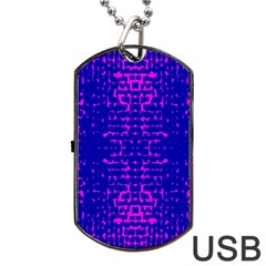 Blue And Pink Pixel Pattern Dog Tag Usb Flash (one Side)