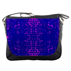 Blue And Pink Pixel Pattern Messenger Bags