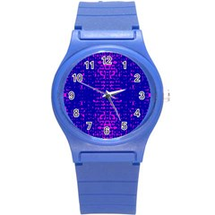 Blue And Pink Pixel Pattern Round Plastic Sport Watch (s)
