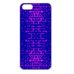 Blue And Pink Pixel Pattern Apple Iphone 5 Seamless Case (white)