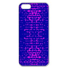 Blue And Pink Pixel Pattern Apple Seamless Iphone 5 Case (clear)