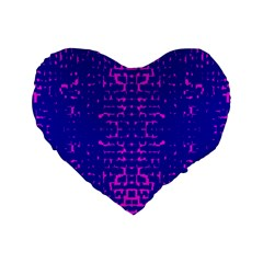 Blue And Pink Pixel Pattern Standard 16  Premium Heart Shape Cushions