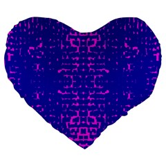 Blue And Pink Pixel Pattern Large 19  Premium Heart Shape Cushions
