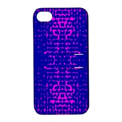 Blue And Pink Pixel Pattern Apple Iphone 4/4s Hardshell Case With Stand