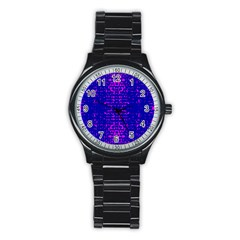 Blue And Pink Pixel Pattern Stainless Steel Round Watch