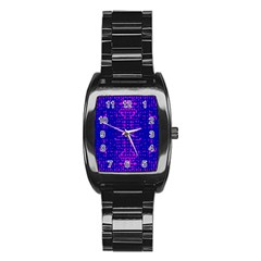 Blue And Pink Pixel Pattern Stainless Steel Barrel Watch