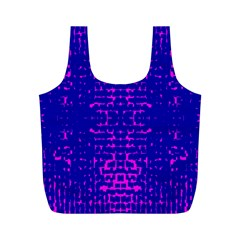 Blue And Pink Pixel Pattern Full Print Recycle Bags (m)
